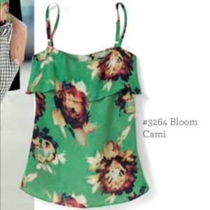 CAbi Watercolor Floral Ruffle Bloom Cami Q0357